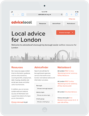 Web design and development for AdviceLocal