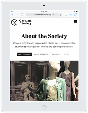 Web design and development for The Costume Society