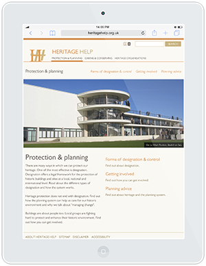 Web design and development for Heritage Help