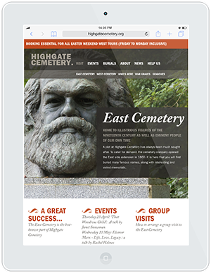 Web design and development for Highgate Cemetery
