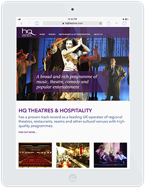 Web design and development for HQ Theatres & Hospitality