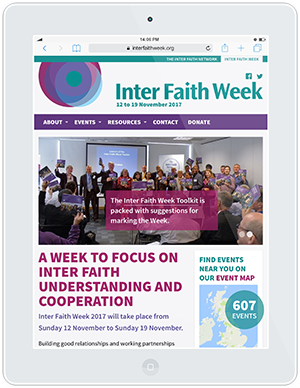 Web design and development for Inter Faith Week