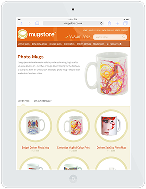 Web design and development for Mugstore