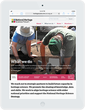 Web design and development for National Heritage Science Forum